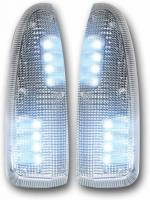 Lighting - Mirror Lights - RECON - RECON | Ford 03-07 F250/F350 Superduty and Excursion Side Mirror Lenses (2-Piece Set) w/ WHITE LED Running Lights and Turn SignalREC264120WHCL