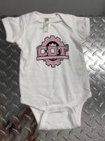 CDT Gear - Baby Clothes - CDT Performance & Off-Road - Onesie White with Pink Logo 6 months