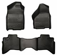2004.5-2007 5.9L Cummins - Interior Accessories - Husky Liners - Husky Liners | Floor Liners Front & 2nd Row 02-09 Doge Ram Quad Cab (Footwell Coverage) WeatherBeater-Black | 98031