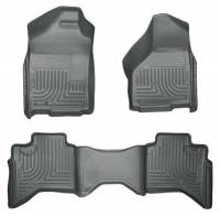 2004.5-2007 5.9L Cummins - Interior Accessories - Husky Liners - Husky Liners | Floor Liners Front & 2nd Row 02-09 Doge Ram Quad Cab (Footwell Coverage) WeatherBeater-Grey | 98032