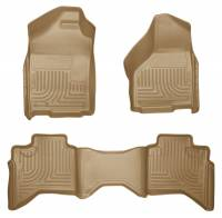 2004.5-2007 5.9L Cummins - Interior Accessories - Husky Liners - Husky Liners | Floor Liners Front & 2nd Row 02-09 Doge Ram Quad Cab (Footwell Coverage) WeatherBeater-Tan | 98033