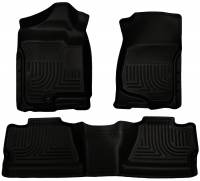 2011-2016 6.6L LML Duramax - Interior Accessories - Husky Liners - Husky Liners | Floor Liners Front & 2nd Row 07-14 Silverado/Sierra Crew Cab No Manual Shifter (Footwell Coverage) WeatherBeater-Black | 98201