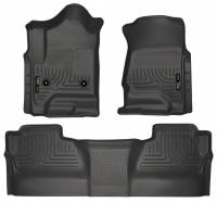 2011-2016 6.6L LML Duramax - Interior Accessories - Husky Liners - Husky Liners | Floor Liners Front & 2nd Row 14-15 Silverado/Sierra Crew Cab (Footwell Coverage) WeatherBeater-Black | 98231