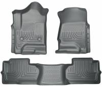 2011-2016 6.6L LML Duramax - Interior Accessories - Husky Liners - Husky Liners | Floor Liners Front & 2nd Row 14-15 Silverado/Sierra Dbl Cab (Footwell Coverage) WeatherBeater-Grey | 98242