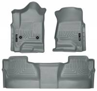 2011-2016 6.6L LML Duramax - Interior Accessories - Husky Liners - Husky Liners | Floor Liners Front & 2nd Row 14-15 Silverado/Sierra Crew Cab (Footwell Coverage) WeatherBeater-Grey | 98232