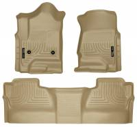 2011-2016 6.6L LML Duramax - Interior Accessories - Husky Liners - Husky Liners | Floor Liners Front & 2nd Row 14-15 Silverado/Sierra Crew Cab (Footwell Coverage) WeatherBeater-Tan | 98233