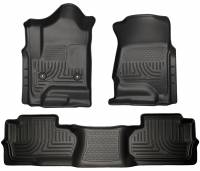 2011-2016 6.6L LML Duramax - Interior Accessories - Husky Liners - Husky Liners | Floor Liners Front & 2nd Row 14-15 Silverado/Sierra Dbl Cab (Footwell Coverage) WeatherBeater-Black | 98241