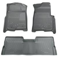 2008-2010 6.4L Powerstroke - Interior Accessories - Husky Liners - Husky Liners | Floor Liners Front & 2nd Row 08-10 F Series Super Duty Crew Cab (Footwell Coverage) WeatherBeater-Grey | 98382