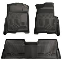 2008-2010 6.4L Powerstroke - Interior Accessories - Husky Liners - Husky Liners | Floor Liners Front & 2nd Row 08-10 F Series Super Duty Crew Cab (Footwell Coverage) WeatherBeater-Black | 98381