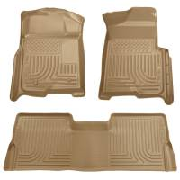 2008-2010 6.4L Powerstroke - Interior Accessories - Husky Liners - Husky Liners | Floor Liners Front & 2nd Row 08-10 F Series Super Duty Crew Cab (Footwell Coverage) WeatherBeater-Tan | 98383