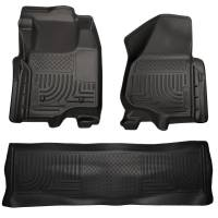2011-2016 6.7L Powerstroke - Interior Accessories - Husky Liners - Husky Liners | Floor Liners Front & 2nd Row 11-12 F Series Super Duty Crew Cab (Footwell Coverage) WeatherBeater-Black | 98711