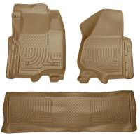 2011-2016 6.7L Powerstroke - Interior Accessories - Husky Liners - Husky Liners | Floor Liners Front & 2nd Row 11-12 F Series Super Duty Crew Cab (Footwell Coverage) WeatherBeater-Tan | 98713