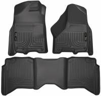 2013-2018 6.7L Cummins - Interior Accessories - Husky Liners - Husky Liners | Floor Liners Front & 2nd Row 09-15 Dodge Ram Crew Cab W/Dual Carpet Hooks (Footwell Coverage) WeatherBeater-Black | 99001