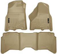2013-2018 6.7L Cummins - Interior Accessories - Husky Liners - Husky Liners | Floor Liners Front & 2nd Row 09-15 Dodge Ram Crew Cab W/Dual Carpet Hooks (Footwell Coverage) WeatherBeater-Tan | 99003