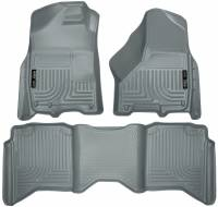 2013-2018 6.7L Cummins - Interior Accessories - Husky Liners - Husky Liners | Floor Liners Front & 2nd Row 09-15 Dodge Ram Crew Cab W/Dual Carpet Hooks (Footwell Coverage) WeatherBeater-Grey | 99002