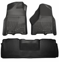 2013-2018 6.7L Cummins - Interior Accessories - Husky Liners - Husky Liners | Floor Liners Front & 2nd Row 10-15 Dodge Ram Mega Cab W/Dual Carpet Hooks (Footwell Coverage) WeatherBeater-Black | 99041