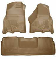 2013-2018 6.7L Cummins - Interior Accessories - Husky Liners - Husky Liners | Floor Liners Front & 2nd Row 10-15 Dodge Ram Mega Cab W/Dual Carpet Hooks (Footwell Coverage) WeatherBeater-Tan | 99043
