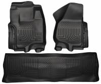 2011-2016 6.7L Powerstroke - Interior Accessories - Husky Liners - Husky Liners | Floor Liners Front & 2nd Row 12-15 F Series Super Duty Crew Cab (Footwell Coverage) WeatherBeater-Black | 99711