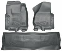 2011-2016 6.7L Powerstroke - Interior Accessories - Husky Liners - Husky Liners | Floor Liners Front & 2nd Row 12-15 F Series Super Duty Crew Cab (Footwell Coverage) WeatherBeater-Grey | 99712