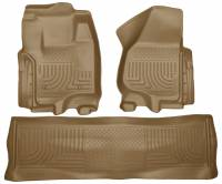 2011-2016 6.7L Powerstroke - Interior Accessories - Husky Liners - Husky Liners | Floor Liners Front & 2nd Row 12-15 F Series Super Duty Crew Cab (Footwell Coverage) WeatherBeater-Tan | 99713