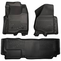 2011-2016 6.7L Powerstroke - Interior Accessories - Husky Liners - Husky Liners | Floor Liners Front & 2nd Row 12-15 F Series Super Duty SuperCab (Footwell Coverage) WeatherBeater-Black | 99721